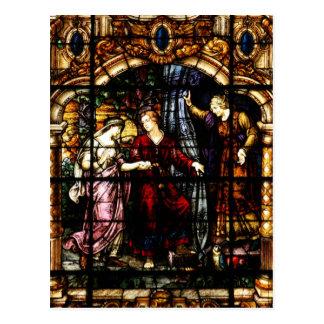 Cartão Postal Arte de Isaac e de vitral de Rebekah