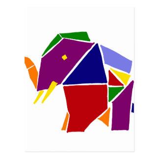Cartão Postal Arte de Origami do elefante do divertimento