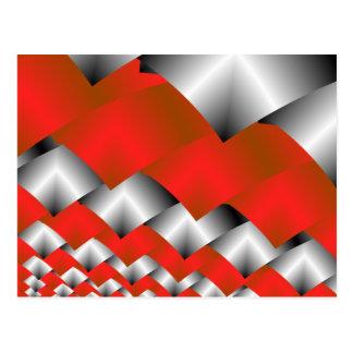 Cartão Postal Arte de prata e vermelha tecida do Fractal