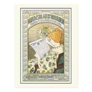 Cartão Postal Arte de propaganda do vintage: Jornal holandês
