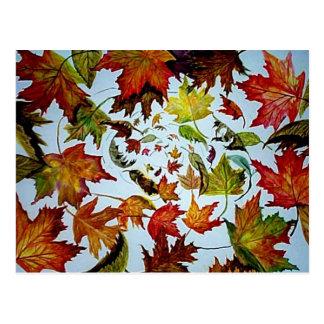 Cartão Postal Arte de roda das folhas de bordo do outono