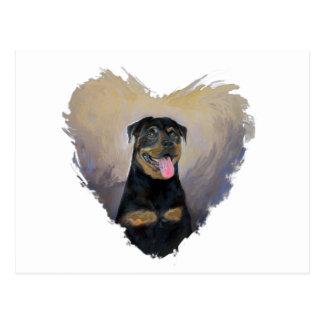 Cartão Postal Arte de Rottweiler, eu amo o impressionista de
