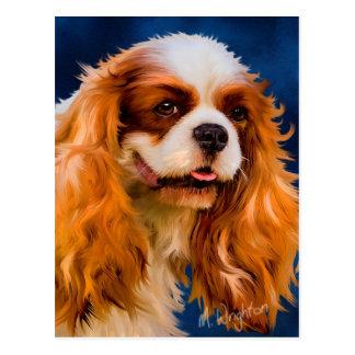Cartão Postal Arte descuidado do cão do Spaniel de rei Charles -