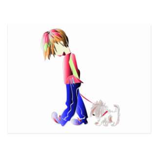 Cartão Postal Arte digital de passeio do cão bonito do menino