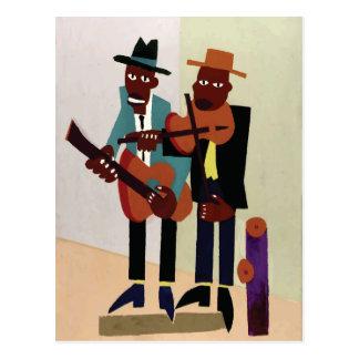 Cartão Postal Arte do americano do vintage do ~ dos músicos da
