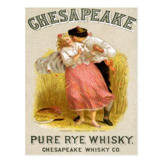 Cartão Postal Arte do anúncio da bebida do vintage do uísque do
