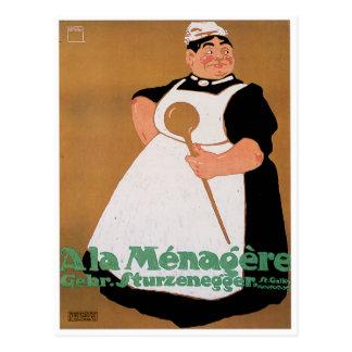 Cartão Postal Arte do anúncio da comida do vintage de Menagere