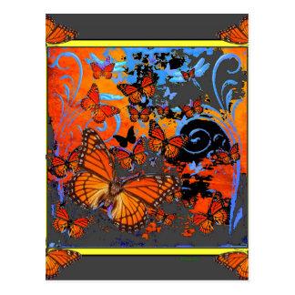 Cartão Postal Arte do clima de tempestade das borboletas de