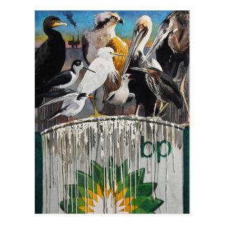 Cartão Postal Arte do desastre do óleo da língua da galinha