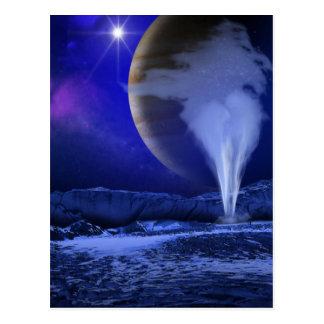 Cartão Postal Arte do espaço da lua de Jupiter do Europa