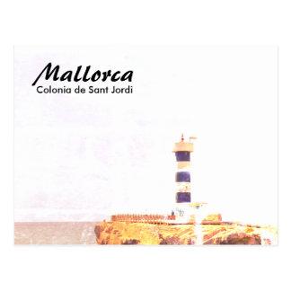 Cartão Postal Arte do farol de Mallorca Colonia de Sant Jordi