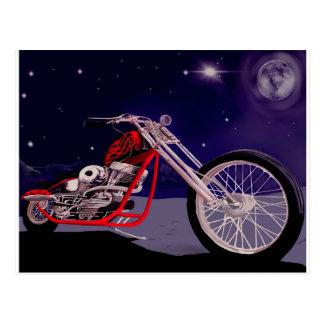 Cartão Postal Arte do luar da motocicleta