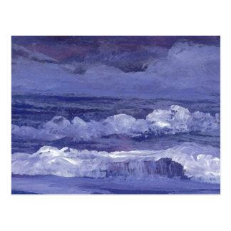 Cartão Postal Arte do mar nebuloso da noite - oceano de