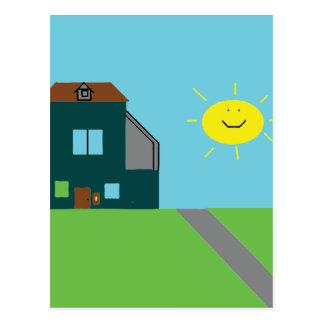 Cartão Postal Arte do miúdo - céu & luz do sol da casa