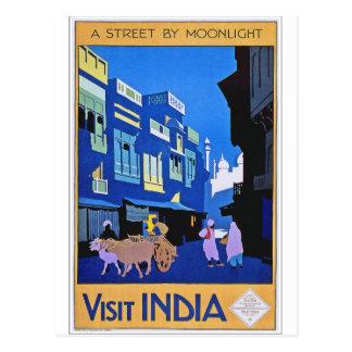 Cartão Postal Arte do poster das viagens vintage de India da