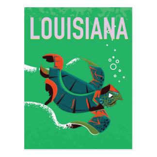 Cartão Postal arte do poster das viagens vintage de louisiana
