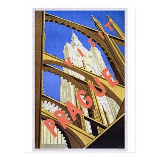Cartão Postal Arte do poster das viagens vintage de Praga da