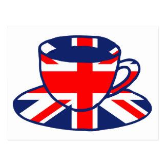 Cartão Postal Arte do teacup da bandeira de Union Jack