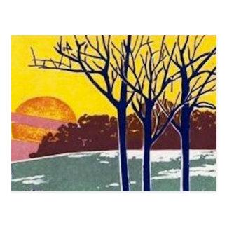 Cartão Postal Arte do vintage de Sun do inverno