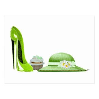 Cartão Postal Arte dos calçados, do cupcake e do chapéu do