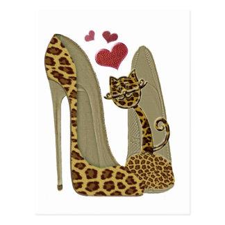 Cartão Postal Arte dos calçados e do gato do estilete do