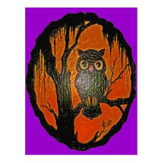 Cartão Postal Arte dos desenhos animados da coruja do vintage