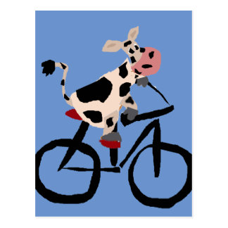 Cartão Postal Arte engraçada da bicicleta da equitação da vaca