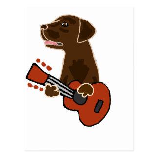 Cartão Postal Arte engraçada da guitarra de labrador retriever