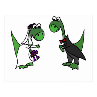 Cartão Postal Arte engraçada do casamento do Brontosaurus