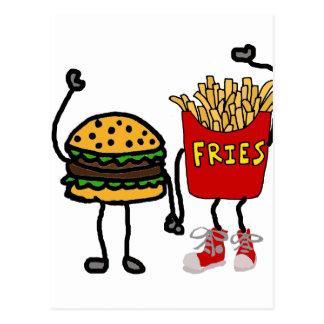 Cartão Postal Arte engraçada do Hamburger e dos desenhos