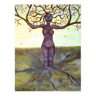 """Cartão Postal Arte """"enraizada"""" da deusa da árvore"""