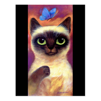 Cartão Postal Arte felino da borboleta do gato Siamese - multi