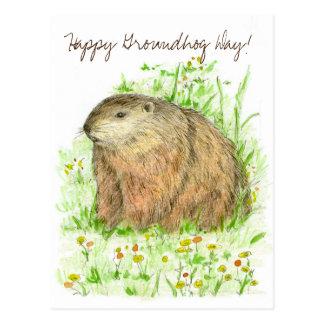 Cartão Postal Arte feliz do animal da marmota do dia de