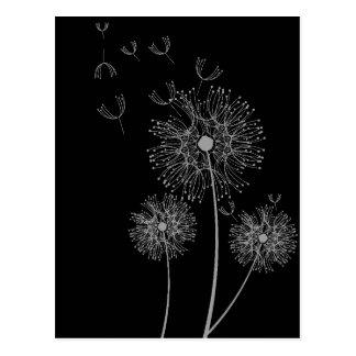 Cartão Postal Arte floral moderna preto e branco do