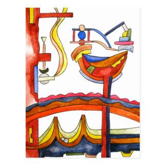 Cartão Postal Arte Henpecked do Galo-Abstrato pintado mão
