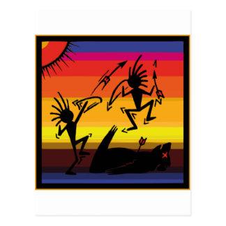 Cartão Postal Arte indiana da caverna do nativo americano