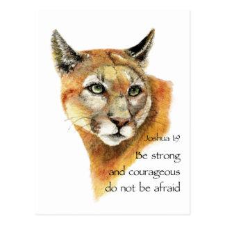 Cartão Postal Arte inspirador do animal do puma de Joshua da