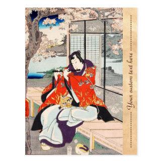 Cartão Postal Arte japonesa do jogador de flauta do ukiyo-e do
