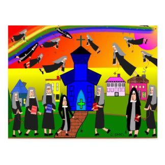 """Cartão Postal """"Arte lunática das freiras de voo"""" das freiras"""