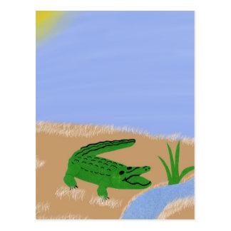 Cartão Postal Arte lunática verde dos desenhos animados do