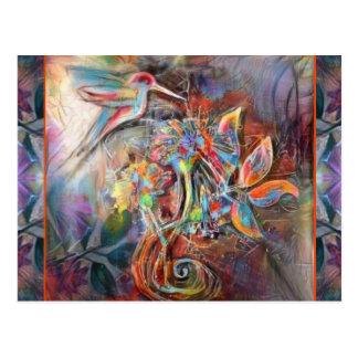 Cartão Postal Arte macia dos Pastels do vôo do colibri