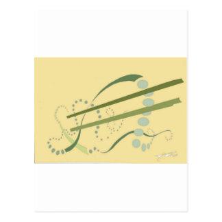 Cartão Postal Arte moderna amarela do abstrato da verde azeitona