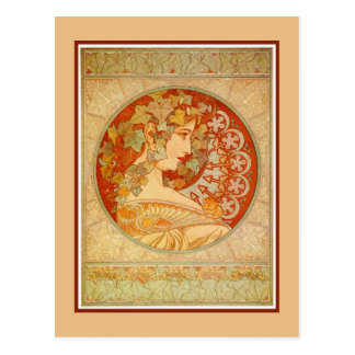 Cartão Postal Arte Nouveau Alfons Mucha, hera modelo