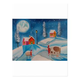 Cartão Postal arte popular da cena da neve do inverno dos