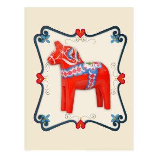 Cartão Postal Arte popular do cavalo de Dala do sueco quadro
