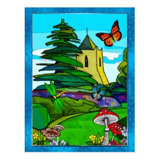 Cartão Postal Arte popular lunática do jardim inglês