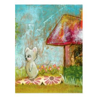 Cartão Postal Arte popular lunática do rato da floresta do dia