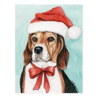 Cartão Postal Arte Postcad do cão do lebreiro do Natal