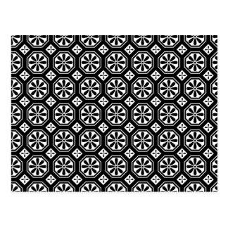 Cartão Postal Arte preta & branca abstrata elegante retro