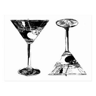 Cartão Postal Arte preto e branco de MartinisPop